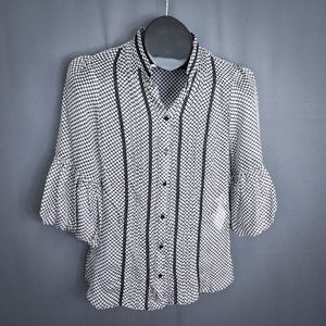 Zara Basic Womens Top Shirt Small Black Polka Dot